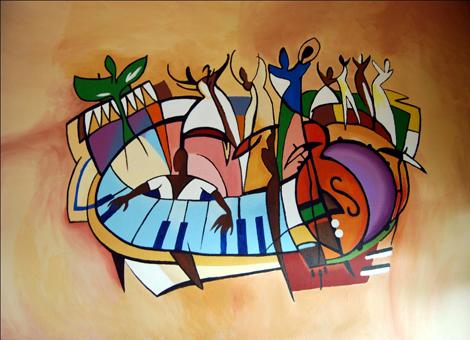 Abstracte en figuratieve muurschilderingen