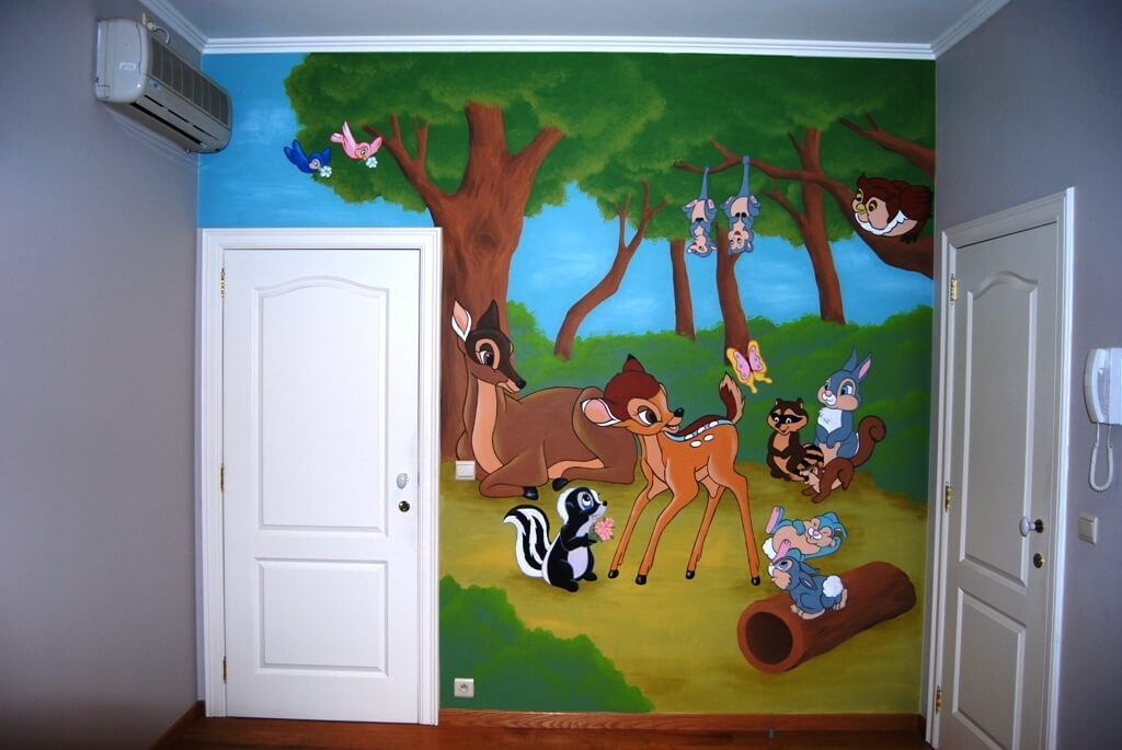 muurschildering bambi