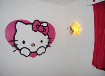 muurschildering-hello-kitty