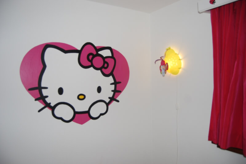 muurschildering-hello-kitty