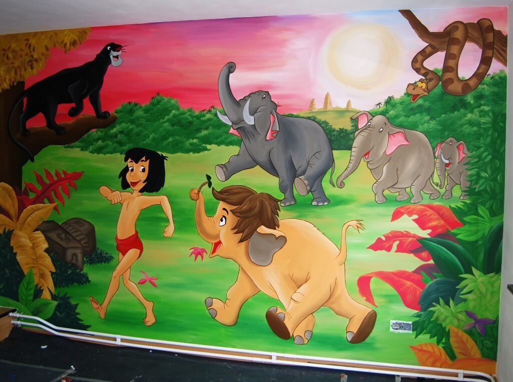 muurschildering jungle book