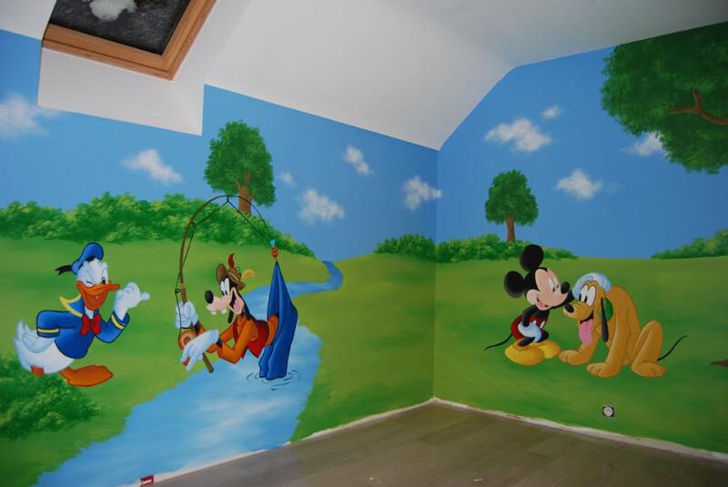 muurschildering-mickey-pluto-goofy-donald