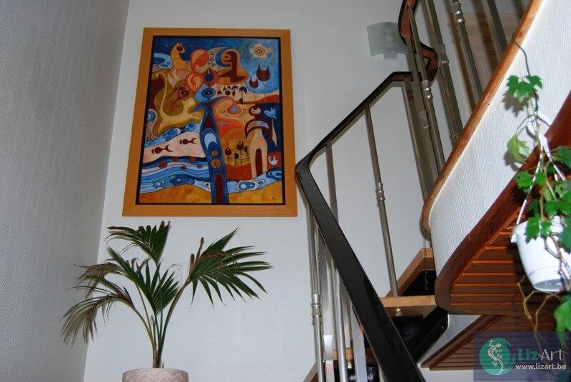 Handgeschilderde frameloze digitale olieverfschilderij kleuren