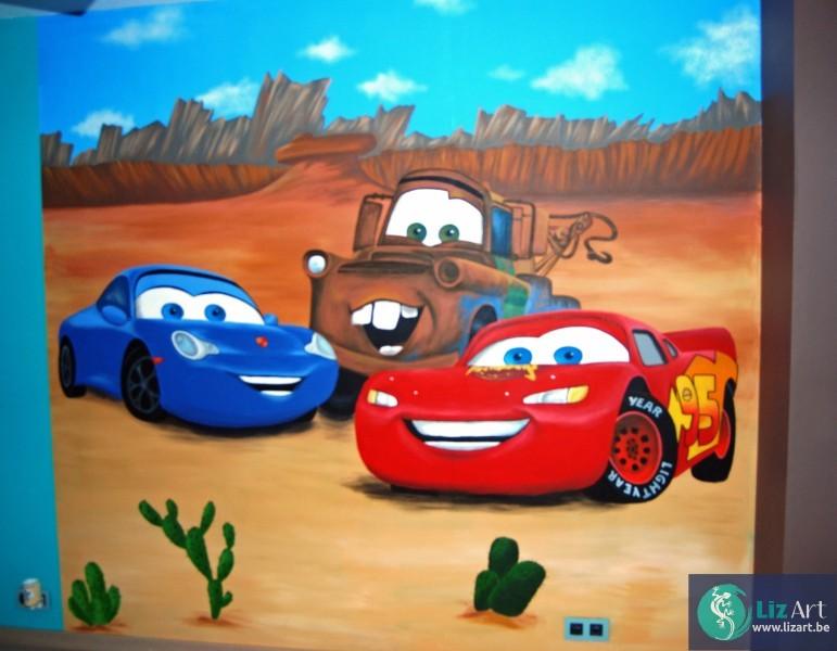 muurschildering cars lizart