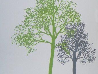 Frisse muurschildering van decoratieve bomen in de keuken