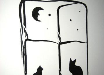Decoratieve muurschildering van twee katten voor het raam