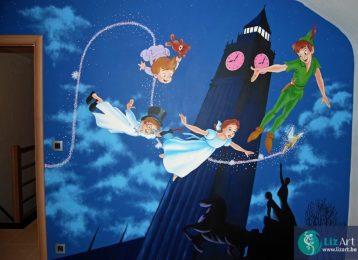 Muurschildering Peter Pan