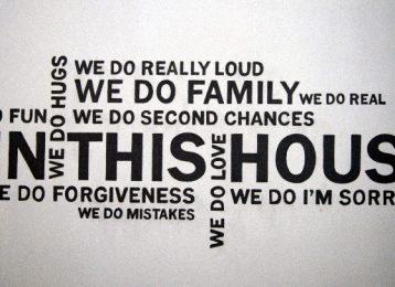Geschilderde tekst: in this house...