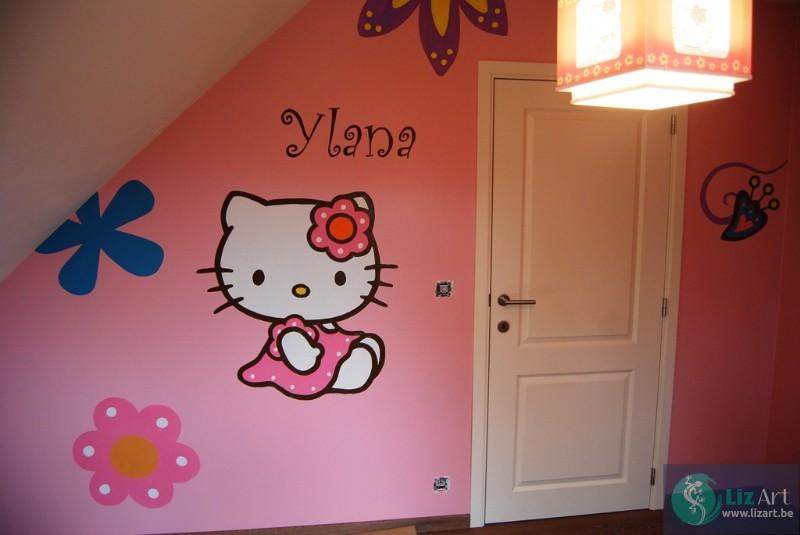 Muurschildering Hello Kitty in kinderkamer