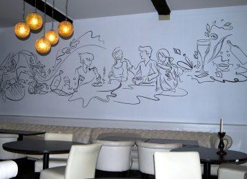 Abstracte lijntekening voor restaurant Elzenhof te Lier