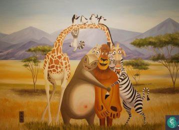 grote wandschildering van Madagascar in een kinderkamer
