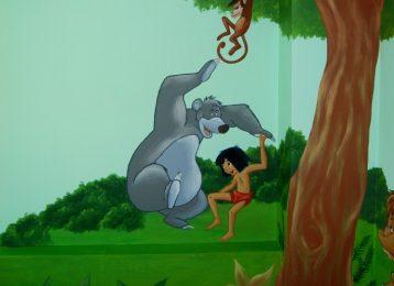 Muurschildering Baloo en Mowgli