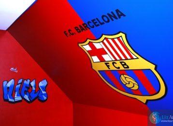 Muurschildering Barcelona logo