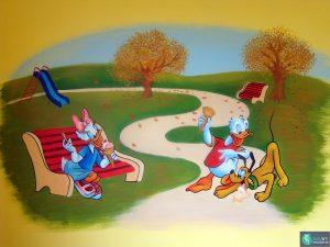 Muurschildering Donald en Daisy