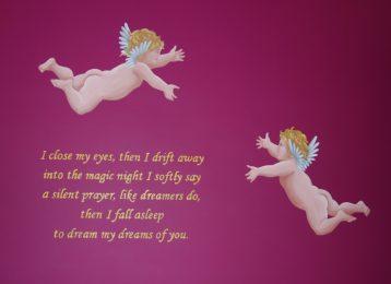 Muurschildering engeltjes rond een gedicht in de slaapkamer
