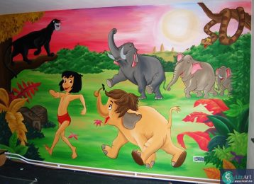 Muurschildering met landschap uit Jungle Book