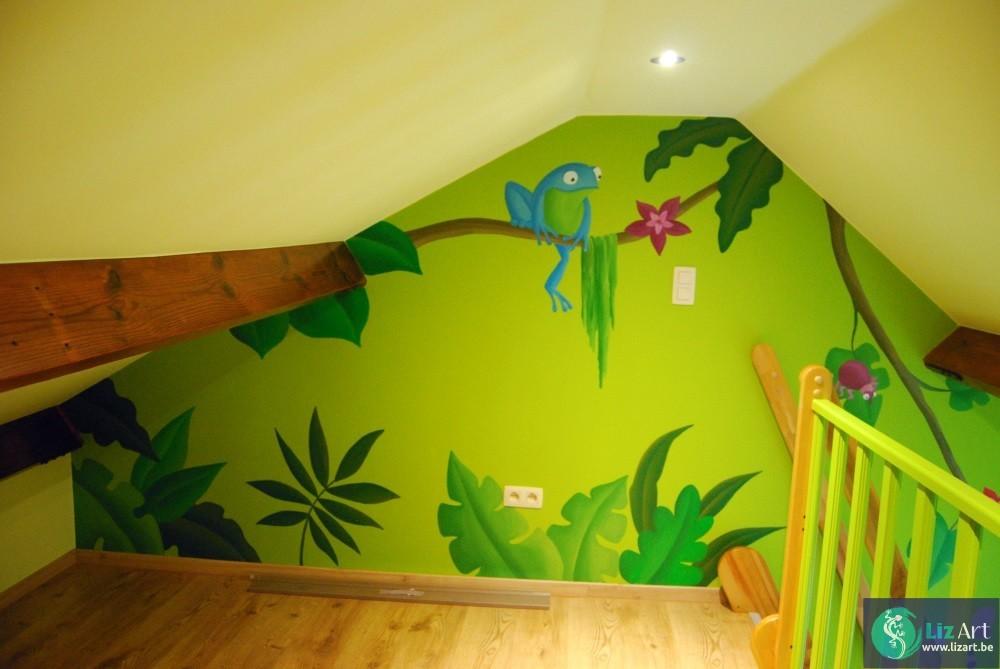 Jungle Decoratie Kinderkamer.Muurschildering Jungle Zolder Lizart