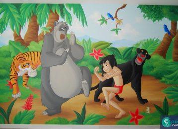 Muurschildering met favoriete personages uit Jungle Boek.