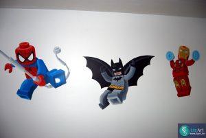 Muurschildering Lego superhelden: Spiderman, Batman en Ironman