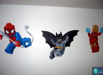 Muurschildering Lego superhelden: Spiderman, Batman en Ironman
