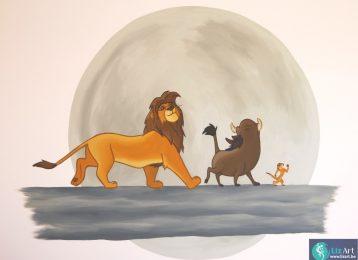 Wandschildering met Simba, Timon & Pumbaa uit de klassieker De Leeuwenkoning