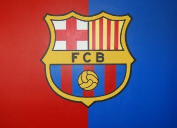 Muurschildering van het  FC Barcelona logo