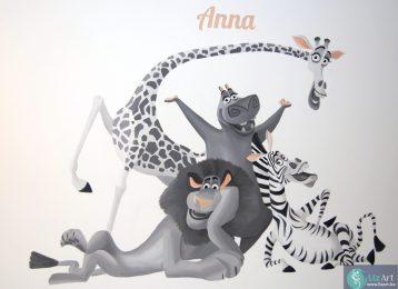 Muurschildering Marty, Alex, Gloria en Melman uit Madagascar