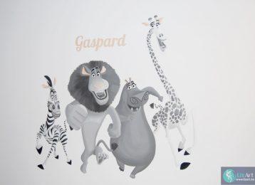 Muurschildering Madagascar met Marty, Alex, Gloria en Melman
