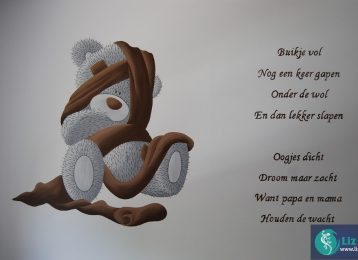 Muurschildering Me To You Bear met gedicht