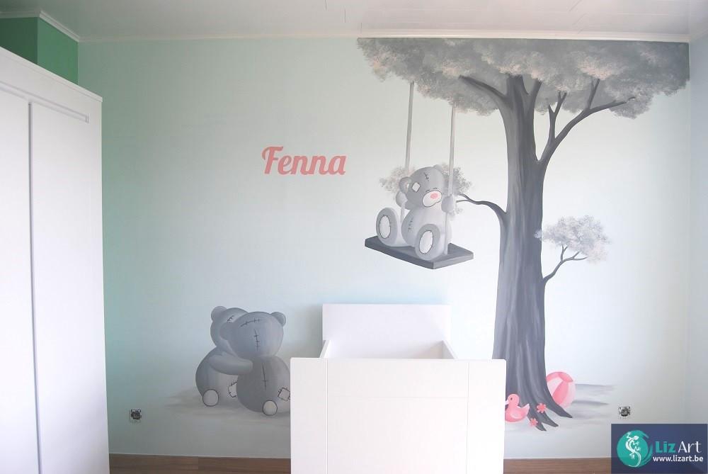 Schommel In Kinderkamer : Wandschildering m u schommel blaadjes lizart
