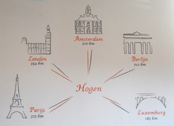 Decoratieve muurschildering in parochiezaal te Hogen van afstanden omliggende hoofdsteden