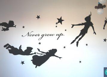 Wandschildering silhouet Peter Pan en vriendjes