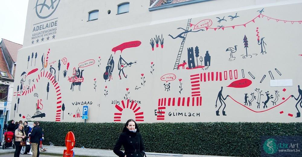 Grote decoratieve muurschildering op gevel voor Picturale 2015 te Ronse, met ontwerp van S. Clement.