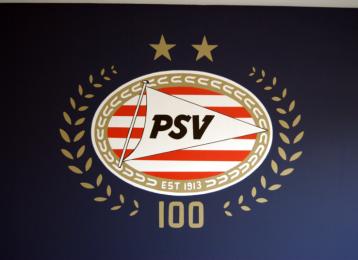 Muurschildering logo van PSV Eindhoven