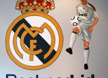 Muurschildering Real Madrid met Ronaldo