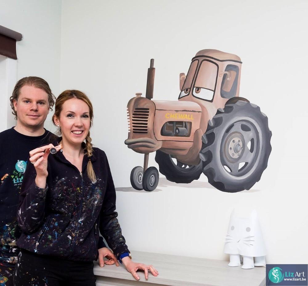 Cars speelgoed als inspiratie voor muurschildering
