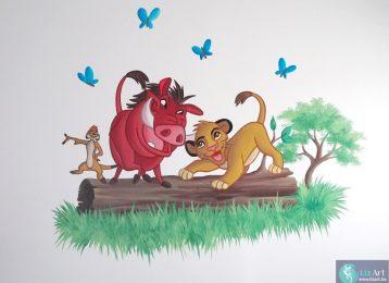 Muuschildering van Timon, Pumbaa en kleine Simba uit De Leeuwenkoning