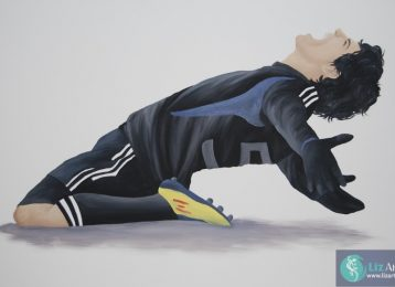 Muurschildering voetballer