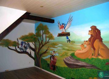 Weelderige savanne muurschildering met geliefde figuurtjes uit De Leeuwenkoning