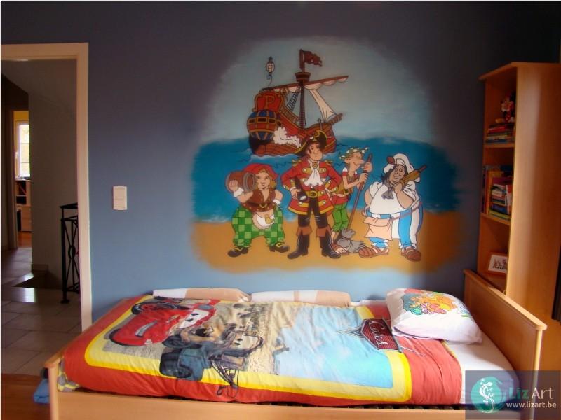 Muurschildering van Piet Piraat