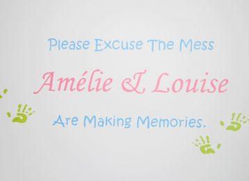 """Geschilderde muurtekst """"making memories"""" met afdruk kinderhandjes"""