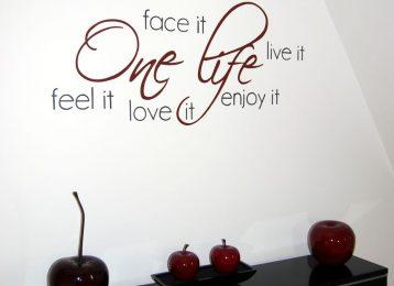 """Geschilderde muurtekst """"one life"""""""