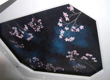Plafondschildering bloesems tegen sterrenhemel