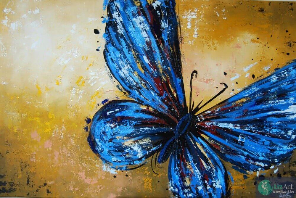 schilderij-blauwe-vlinder