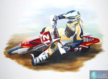 Muurschilderij motorrijder
