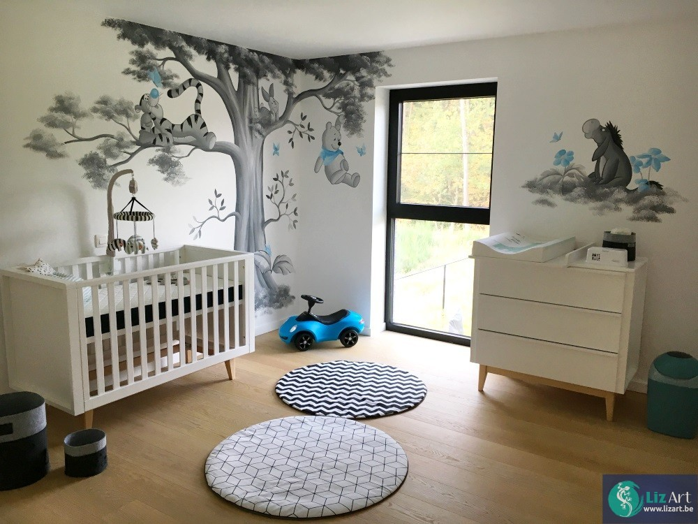 Muurschildering babykamer jongen groots aanbod lizart