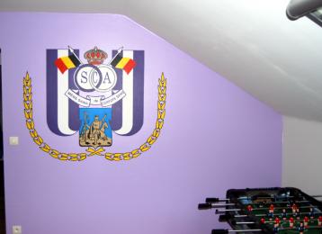 Wandschildering logo Anderlecht