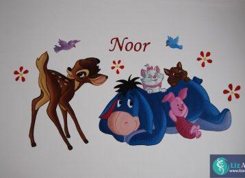 Muurschildering met Bambi, Aristokatten, Knorretje en Eeijoor