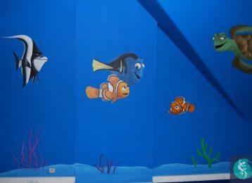"""Muurschildering figuurtjes uit de film """"Finding Nemo"""""""
