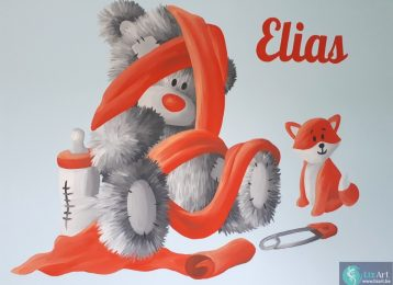 Wandschildering Me To You Bear met vosje en naamsvermelding